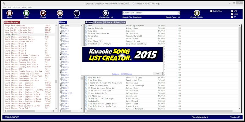Karaoke Song List Creator Screen shot